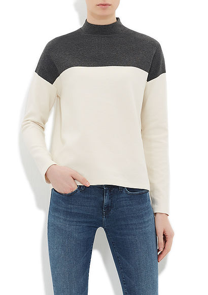 Koyu Gri Color Block Sweatshirt