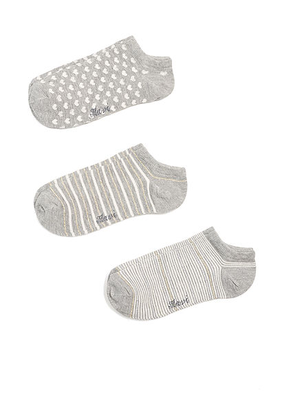 Mavi Üçlü Paket Gri Çorap